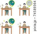 自宅学習をする女の子【オンライン授業・オンライン学習・自宅・回線落ち・塾・リモート】イラスト 74589364