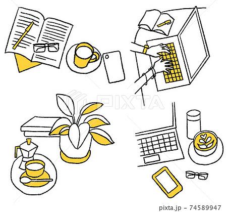 観葉植物とコーヒーと本とパソコン_背景_セット 74589947