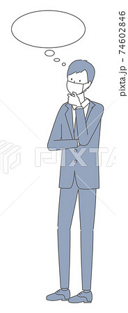 考える マスクを着けたスーツの男性 74602846