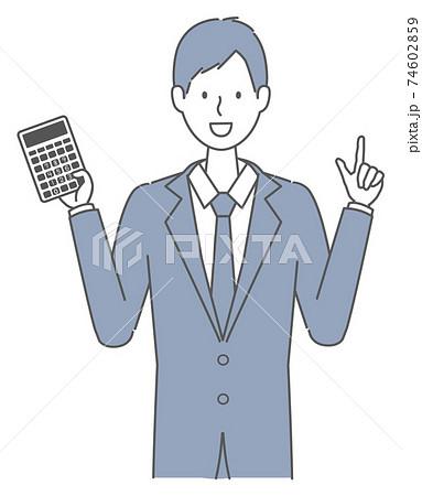 電卓を持つ スーツを着た男性 74602859