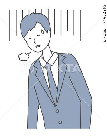 落ち込む・疲れている スーツを着た男性 74602865