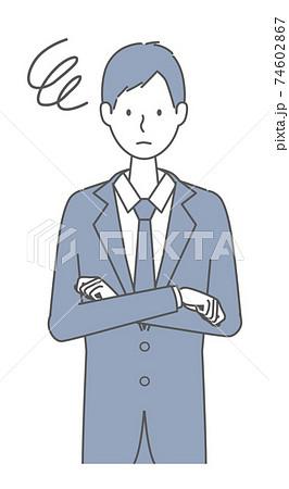 困っている スーツを着た男性 74602867