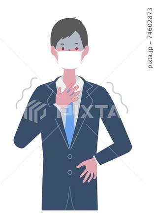 怖がる・悪寒がする マスクを着けたスーツの男性 74602873