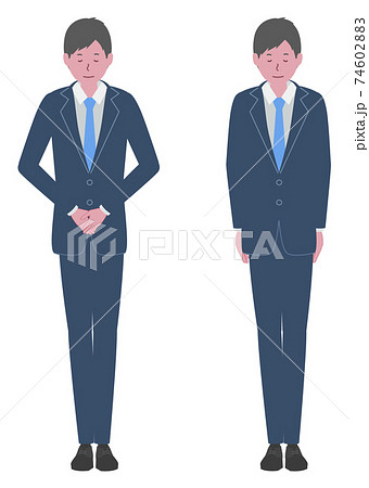 かしこまる、会釈をする スーツを着た男性 74602883