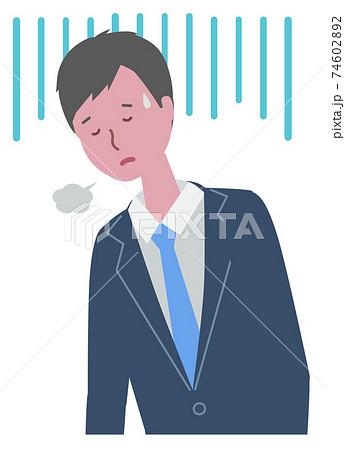 落ち込む・疲れている スーツを着た男性 74602892