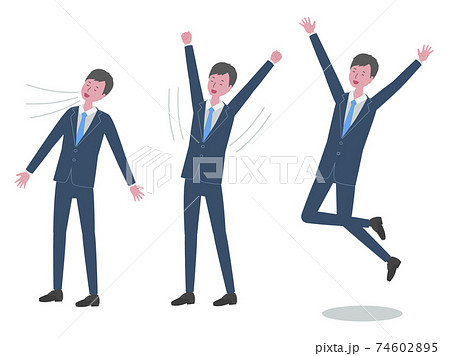 深呼吸、背伸び、ジャンプをする スーツを着た男性 74602895