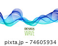 Blue smooth vector wave. Abstract background, design element. 74605934