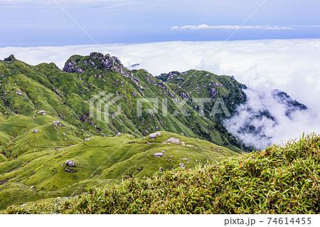 真夏の雲上の楽園洋上アルプスの絶景。世界自然遺産屋久島 74614455