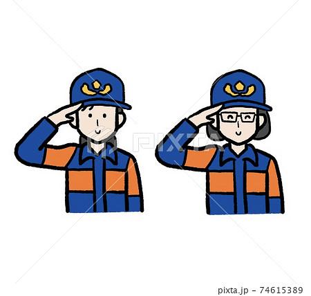 女性消防団員のイラストセット 74615389