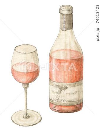 ロゼワイン 手描き水彩色えんぴつ画 74615425