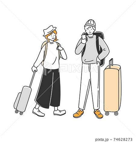 旅行の行き先を調べる男性と、横で見守る女性 74628273