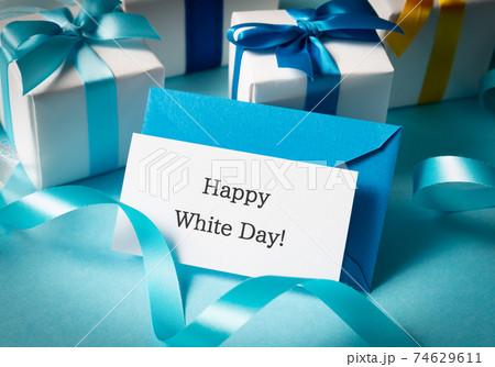 Happy White Day! ホワイトデー メッセージカード 手紙 レター 水色 74629611