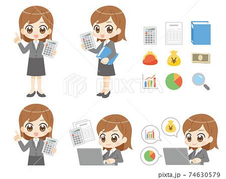 経理の仕事をする女性セット アニメ風キャラクター 74630579