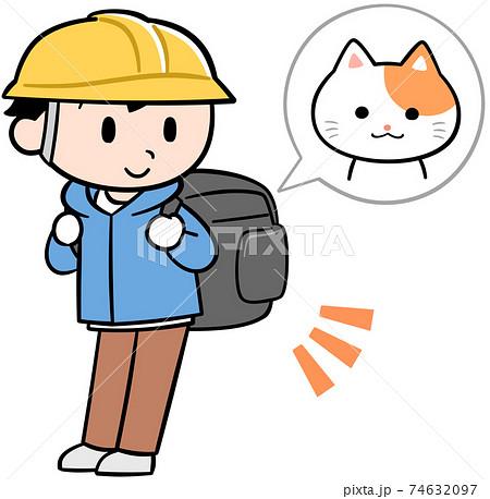 猫と避難する男性 74632097