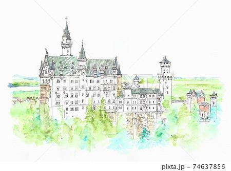 世界遺産の街並み・ドイツ・ノイシュバンシュタイン城 74637856