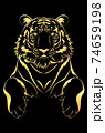 Black tiger with gold stripes 74659198