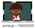 Afro american boy on laptop screen 74659205