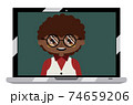 Afro american boy on laptop screen 74659206