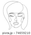 Abstract line art female portrait 74659210
