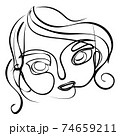 Abstract line art female portrait 74659211