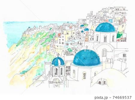 世界遺産の街並み・ギリシャ・ミコノス島の青い屋根 74669537