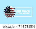 Model of COVID-19 coronavirus colored in national USA flag, concept of pandemic spreading, medicine and healthcare. 74673654