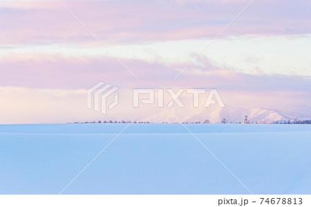 【北海道美瑛町の冬】朝焼けの丘と十勝岳連邦 1月 74678813