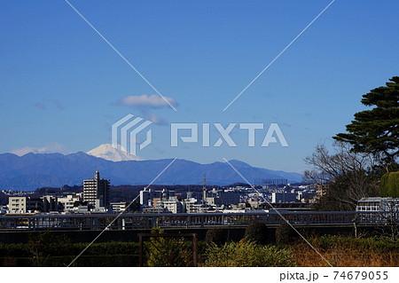 2月 世田谷632富士山(成城の富士見橋展望・国分寺崖線上) 74679055