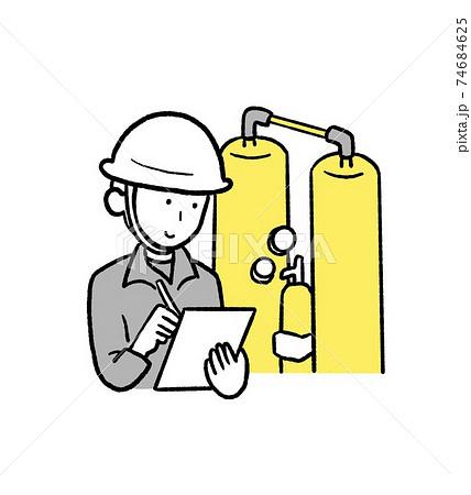 消防設備を点検する人のイラスト 74684625