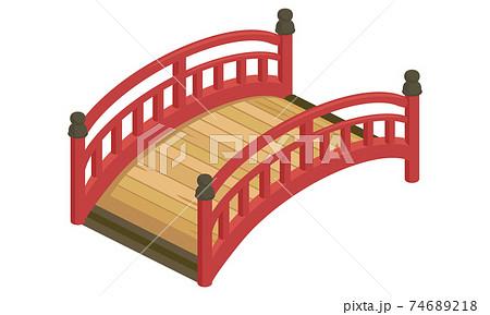 赤いアーチ橋のベクターイラスト(アイソメトリック、アイソメ) 74689218