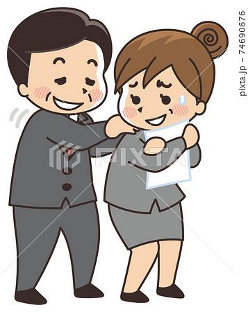 女性にセクハラをする男性上司 ハラスメント 74690676