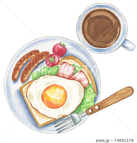 洋風の朝食 コーヒー付き【手描き水彩画】 74691378