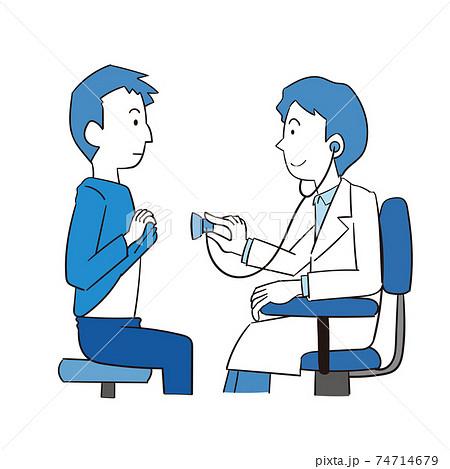 聴診器で患者の状態を診る男性医師 74714679