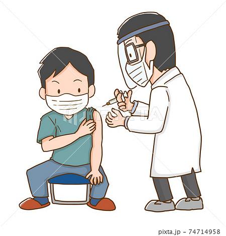 ワクチンを接種する男性 74714958