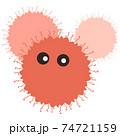 スパイク状の突起の付いたオレンジ色のウイルスや病原菌のイメージ素材 74721159