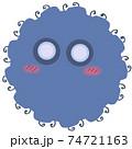 スパイク状の突起の付いた青色のウイルスや風邪菌のイメージ素材 74721163