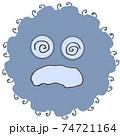 スパイク状の突起の付いた殺菌されている灰色のウイルスや風邪菌のイメージ素材 74721164