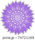 スパイク状の突起の付いた紫色のウイルスや風邪菌のイメージ素材 74721169