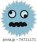 スパイク状の突起の付いた水色のウイルスや病原菌のイメージ素材 74721171