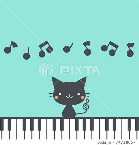 クロネコとピアノ 74728657