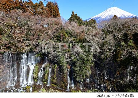 白糸の滝の遠景に冠雪の富士山を見る風景 74743889