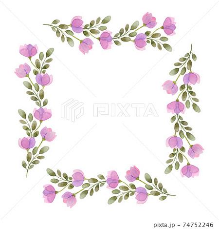花のフレーム 水彩イラスト 74752246