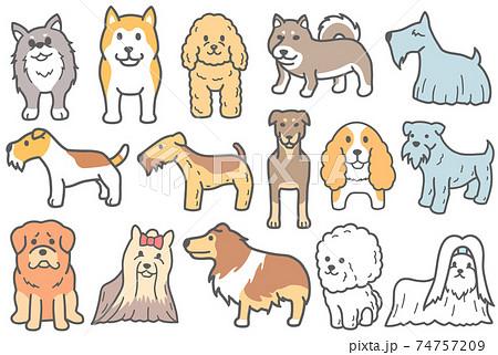 ワイアーフォックステリアなどの犬のイラスト 74757209