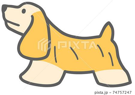 横向きのアメリカンコッカースパニエルの犬のイラスト 74757247