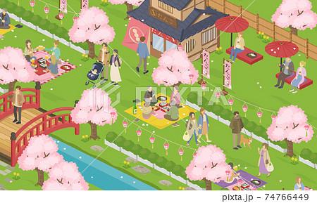 春のお花見日和の人々の生活風景(街並み、町並み)のベクターイラスト バナー(アイソメトリック) 74766449