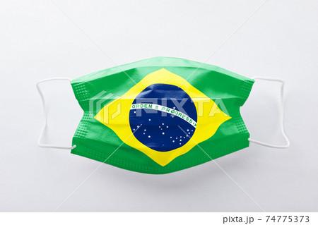 ブラジル国旗のマスク 74775373