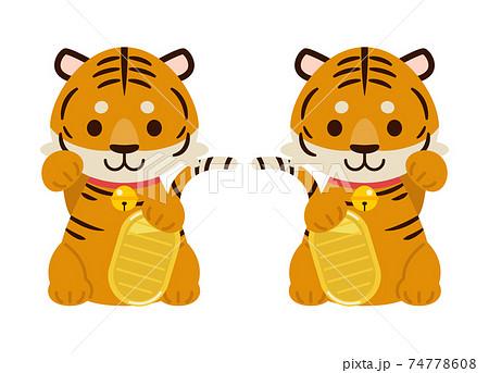 招き虎イラスト素材 : Maneki tiger illustration material 74778608