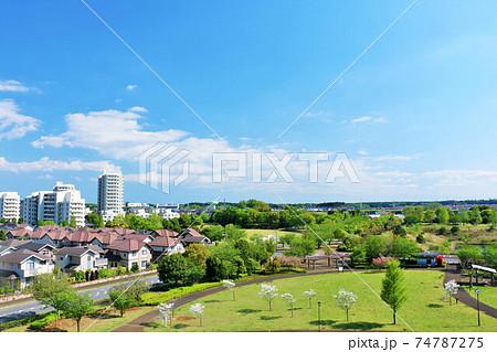 青空の住宅街と公園 74787275