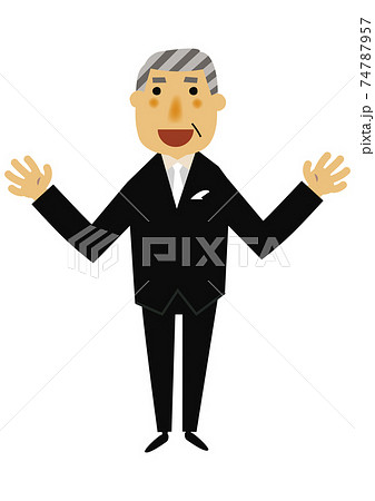 人物の素材。 パーティーのイメージイラスト。 フォーマルスーツのシニア男性。 74787957