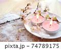 桜のアロマキャンドルと桜の花と粉雪 74789175